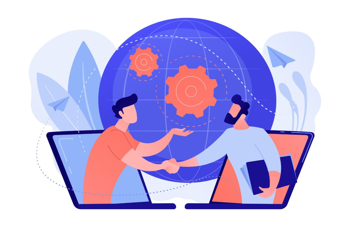 Online conference and business concept vector illustration.