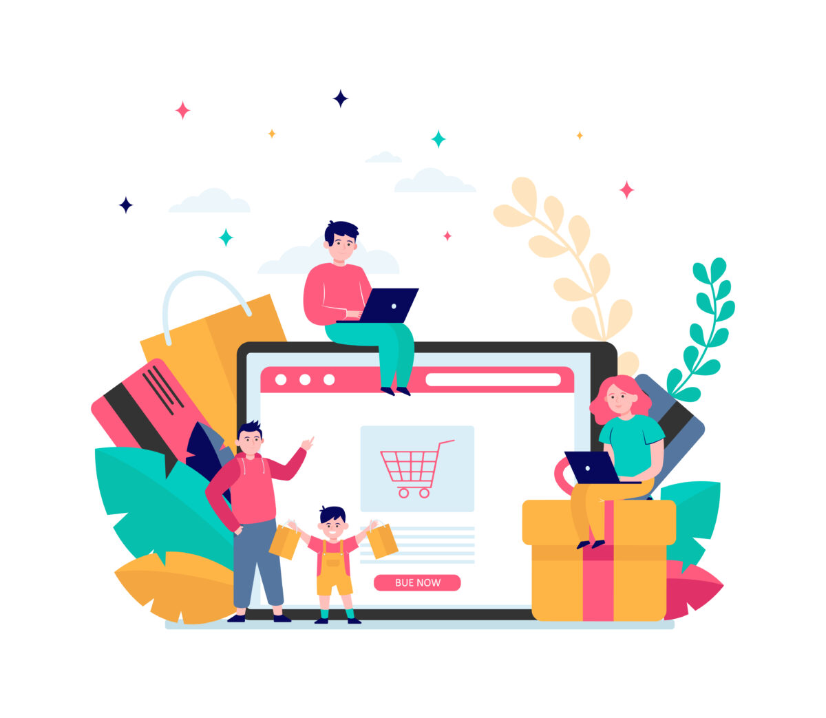 Happy people shopping online