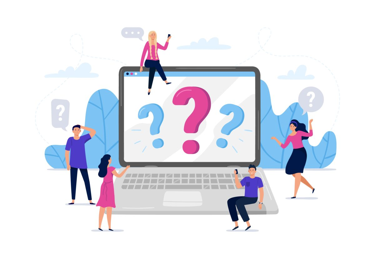 Online question answers search. Question sign on laptop computer screen, confused people asking questions vector illustration. Men and women using laptop, searching for problem solution online