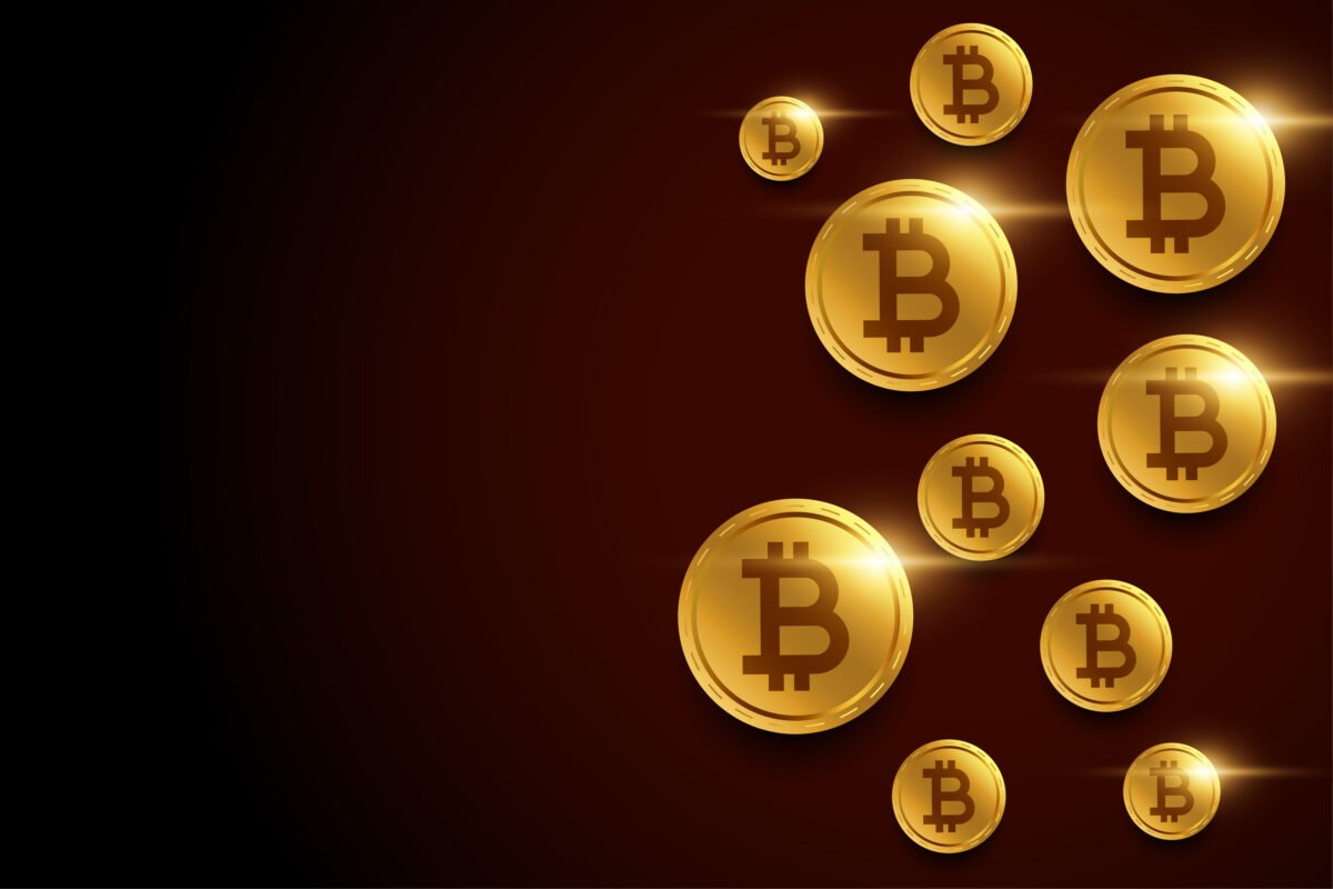 golden bitcoins background with text space