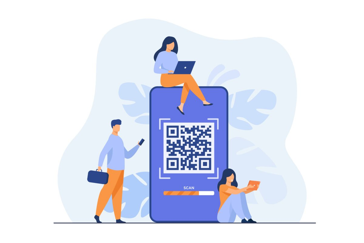 Tiny people using QR code for online payment