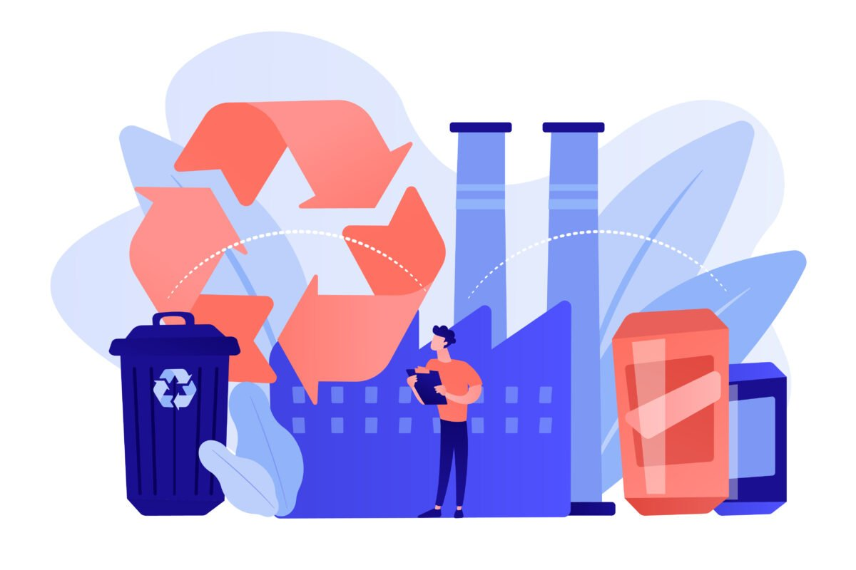 Mechanical recycling concept vector illustration.
