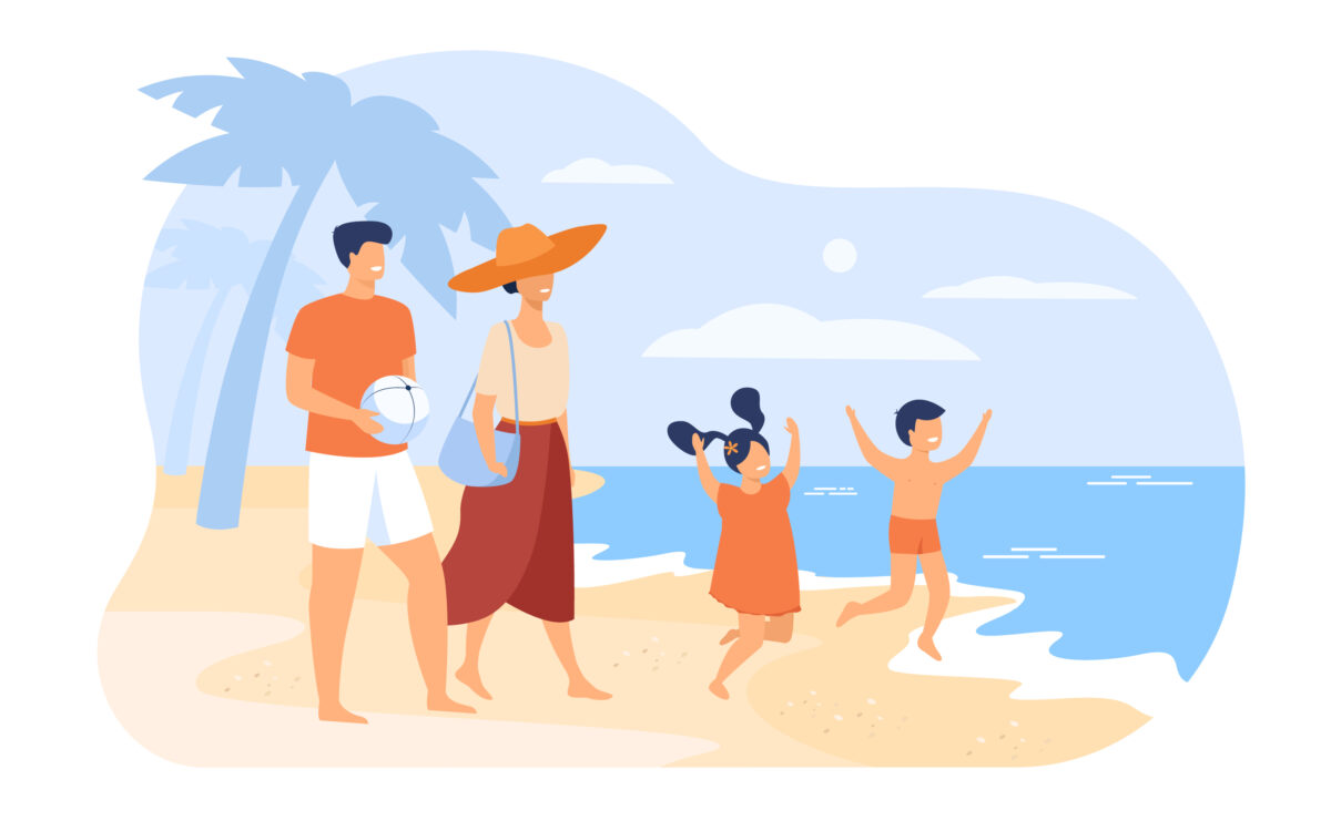 Family on summer vacation concept