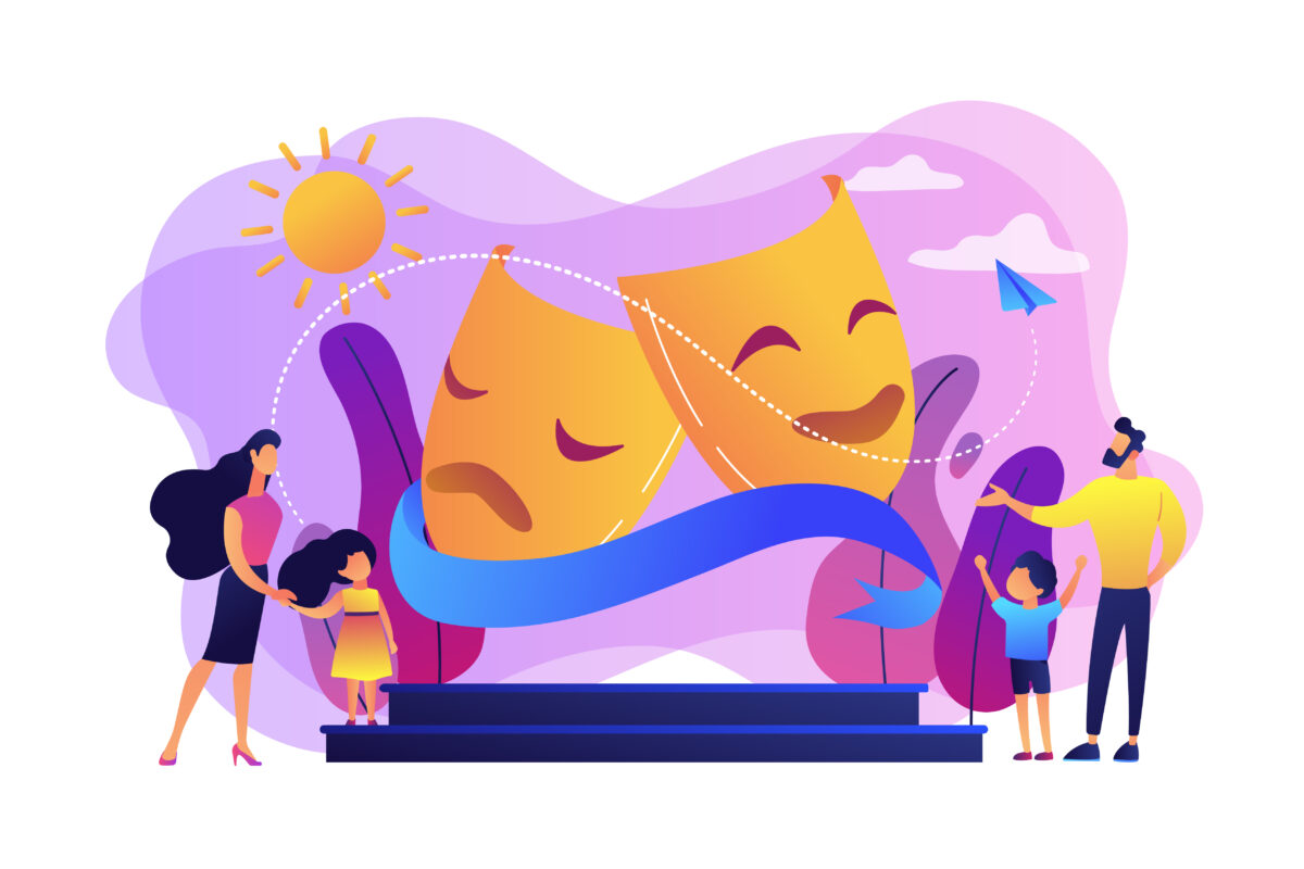 Theater camp concept vector illustration.