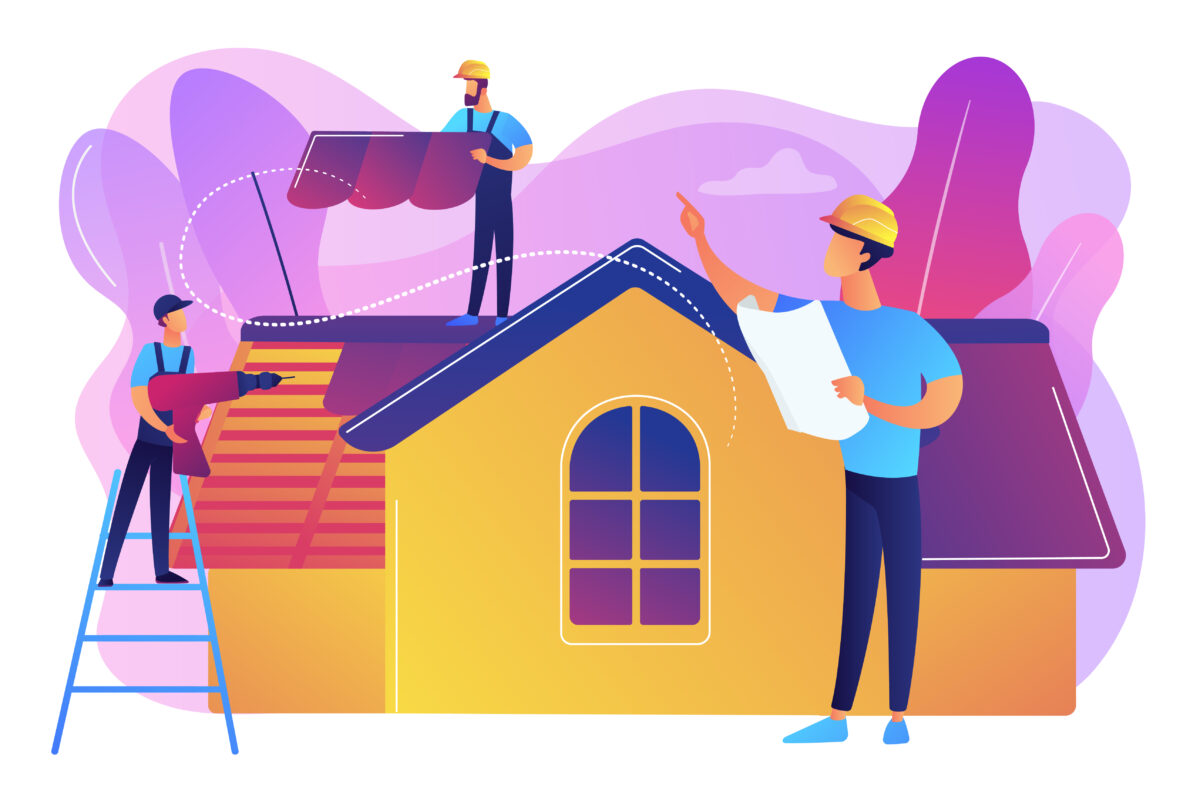 Roofing services concept vector illustration