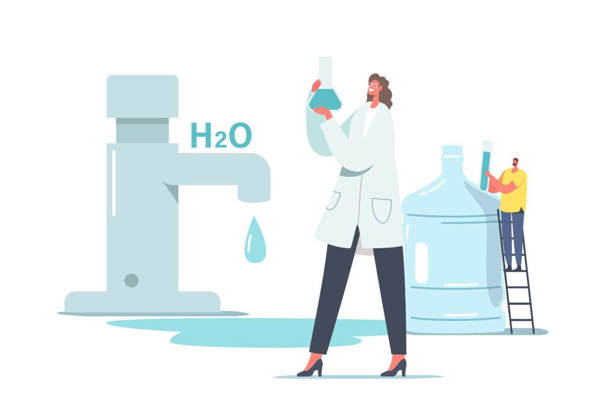 Chemicals in Water Concept. Tiny Scientist Female Character in White Lab Coat Hold Beaker Research Water in Laboratory